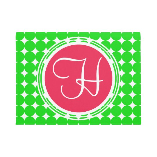 Red & Green Polka Dot Monogram Doormat