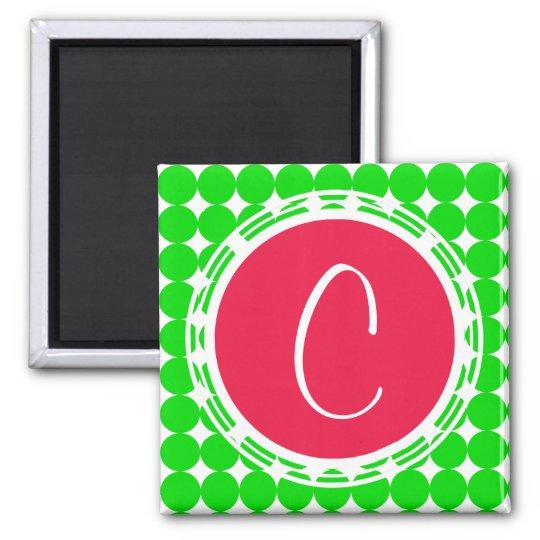 Red & Green Polka Dot Monogram Magnet
