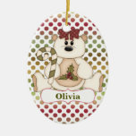 Red Green Polkadot Bear Personalised Ceramic Oval Decoration