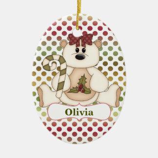 Red Green Polkadot Bear Personalized Christmas Ornament