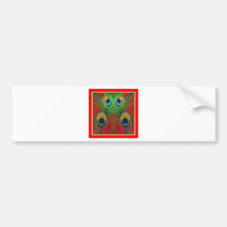 Red-Green-Purple-Gold Peacock Feathers gifts Bumper Sticker