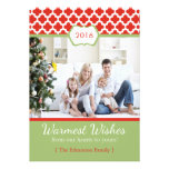 Red Green Quatrefoil Christmas Flat Card Invitations