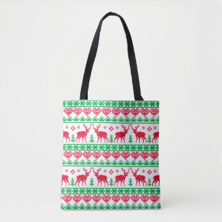 Red Green Reindeer Christmas Nordic Tacky Pattern Tote Bag