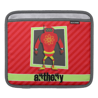 Red & Green Robot; Scarlet Red Stripes Sleeve For iPads
