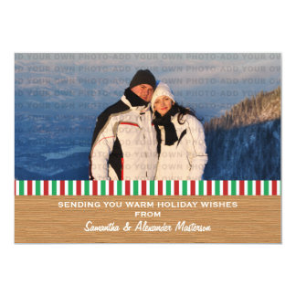 Red/Green Rustic Stripes Photo Card 13 Cm X 18 Cm Invitation Card