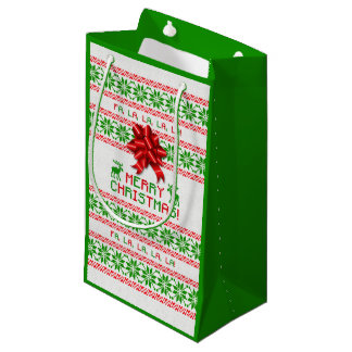 Red Green Snowflake Bow Ugly Christmas Sweater Small Gift Bag
