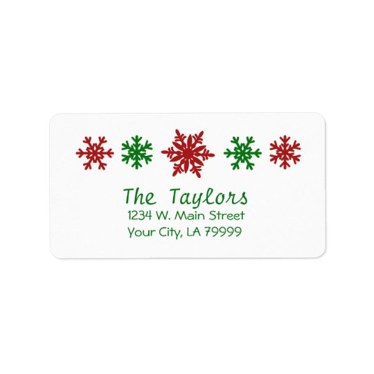 Red Green Snowflake Holiday Christmas Address Label