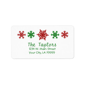 Red Green Snowflake Holiday Christmas Label