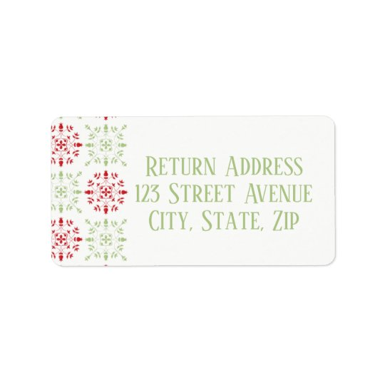 Red & Green Snowflake pattern return address label