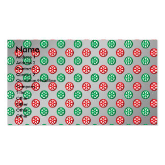 Red green snowflakes in circles on silver fade business cards