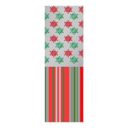 Red green snowflakes on silver stripes business card template