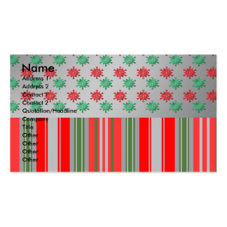 Red green snowflakes on silver stripes business card