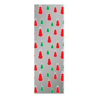 Red green snowmen on silver fade business card