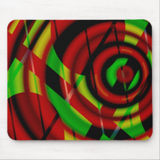 Red Green Spiral Abstract Mouse Mat