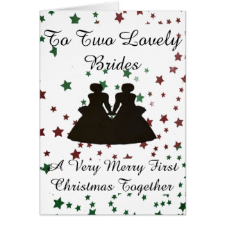 Red &Green Star Bride Silhouette Gay 1st Christmas Greeting Card