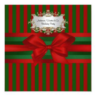 Red Green Stripe Ribbon & Bow Chrismas 13 Cm X 13 Cm Square Invitation Card