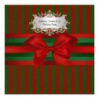 Red Green Stripe Ribbon Bow Chrismas Personalized Invite