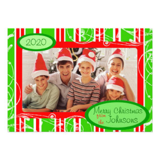Red green striped custom holiday photo cards