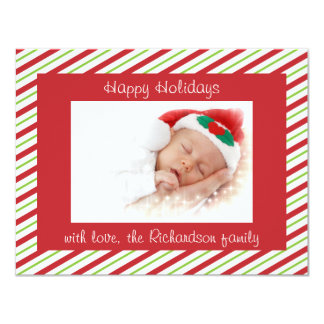 Red Green Striped Custom Photo Flat Christmas Card 11 Cm X 14 Cm Invitation Card