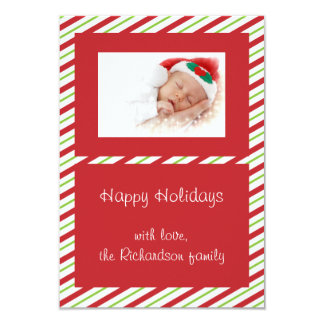 Red Green Striped Custom Photo Flat Christmas Card 9 Cm X 13 Cm Invitation Card