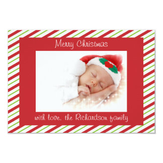 Red Green Striped Custom Photo Flat Christmas Card Custom Announcements