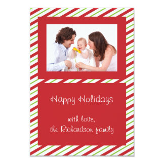 Red Green Striped Custom Photo Flat Christmas Card Invitation