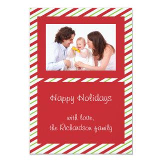 Red Green Striped Custom Photo Flat Christmas Card Custom Invitation