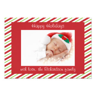 Red Green Striped Custom Photo Flat Christmas Card