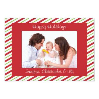 Red Green Striped Custom Photo Flat Christmas Card 9 Cm X 13 Cm Invitation Card