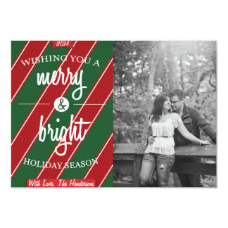 Red & Green Striped Merry & Bright Holiday Card 13 Cm X 18 Cm Invitation Card