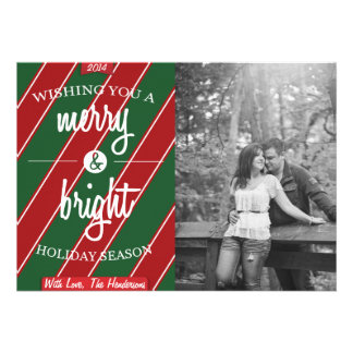 Red Green Striped Merry Bright Holiday Card