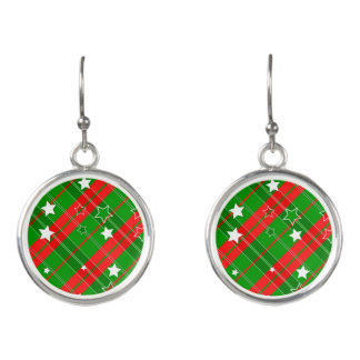 Red Green Striped Plaid White Stars Earrings