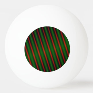 Red & Green Stripes/Lines Pattern Ping Pong Ball
