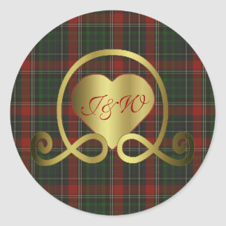 Red & Green Stuart Plaid Heart Wedding Sticker