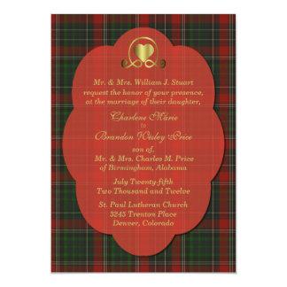 Red & Green Stuart Tartan Plaid Custom Wedding Card