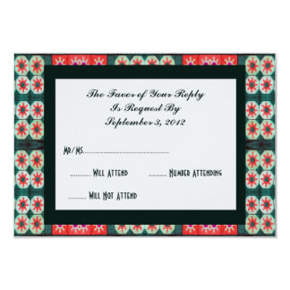 Red Green Tile RSVP 9 Cm X 13 Cm Invitation Card