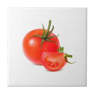 Red Green Tomato Food Art Tile