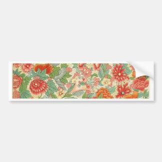 Red & Green Vintage Floral Design Bumper Sticker