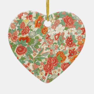 Red & Green Vintage Floral Design Ceramic Heart Decoration