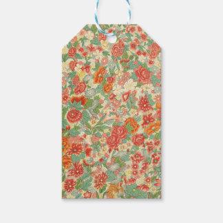 Red & Green Vintage Floral Design Gift Tags