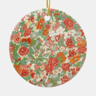 Red & Green Vintage Floral Design Round Ceramic Decoration