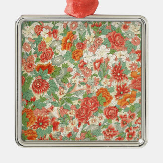 Red & Green Vintage Floral Design Silver-Colored Square Decoration