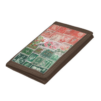 Red Green Wallet, Christmas Sunset, Stamp Mail Art Tri-fold Wallet