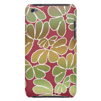 Red Green Whimsical Ikat Floral Doodle Pattern Barely There iPod Cases