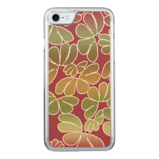 Red Green Whimsical Ikat Floral Doodle Pattern Carved iPhone 8/7 Case