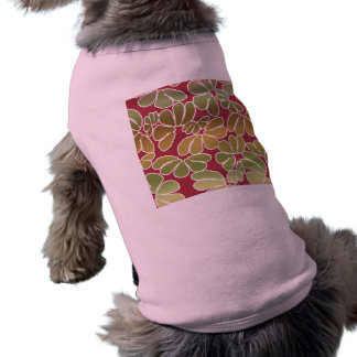 Red Green Whimsical Ikat Floral Doodle Pattern Sleeveless Dog Shirt