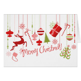 Red, Green, White Festive Decorations Card