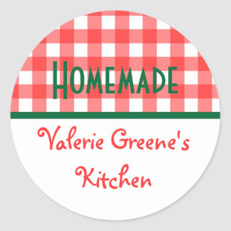 Red green white gingham homemade food label seal sticker