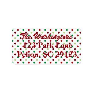 Red Green & White Polka Dot Christmas Address Label