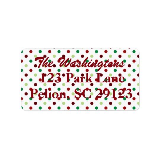Red Green & White Polka Dot Christmas Label